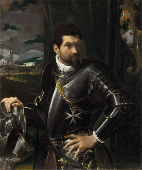 Ludovico Carracci (Bologna 1555-1619) Portrait of Carlo Alberto Rati Opizzoni in armour, three-quarter-length, wearing the Order of the Knights of Malta, the city of Bologna beyond Price realised GBP 5,071,250 Estimate GBP 3,500,000 - GBP 5,000,000