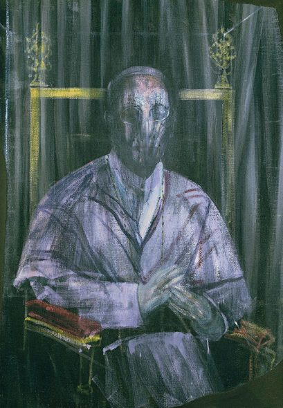 Sacred Noise Francis Bacon (1909-1992), Study, 1955. Oil on canvas. 42¾ x 29¾ in (108.6 x 75.6 cm). Robert and Lisa Sainsbury Collection, Sainsbury Centre for Visual Arts, University of East Anglia (UEA 30) © The Estate of Francis Bacon. All rights reserved, DACS/Artimage 2018. Photo: Prudence Cuming Associates Ltd