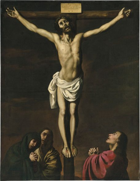 Sacred Noise Francisco de Zurbarán (1598-1664), Christ on the Cross, with the Virgin and Saints Mary Magdalene and John the Evangelist. Oil on canvas. 83½ x 64¼ in (212 x 163 cm). Private Collection