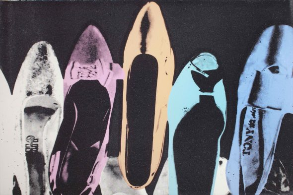 Andy Warhol Shoes, 1980 sprint with diamond dust on Arches Aquarelle paper cm. 102,2 x 151,1 Courtesy Galleria d'Arte Maggiore g.a.m., Bologna/Milan