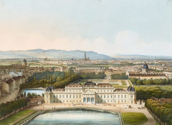 Franz Xaver Joseph Sandmann after Jakob Alt, Vienna viewed from the south by balloon Photo: Johannes Stoll © Belvedere, ViennaFranz Xaver Joseph Sandmann after Jakob Alt, Vienna viewed from the south by balloon Photo: Johannes Stoll © Belvedere, Vienna