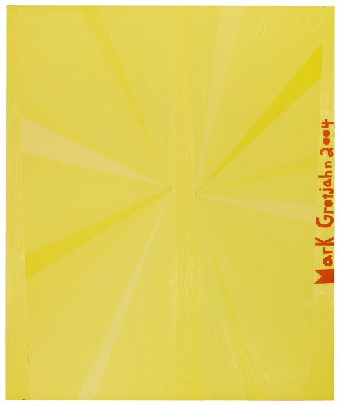 Mark Grotjahn B. 1968 UNTITLED (YELLOW BUTTERFLY ORANGE MARK GROTJAHN 2004) signed and dated 2004 oil on linen 152.4 by 127 cm. 60 by 50 in.