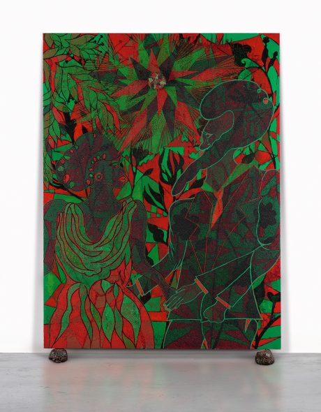 Chris Ofili B. 1968 AFROMANTICS titled; signed, titled and dated 2000-2002 on the overlap; signed, titled and dated 2000-2002 on the stretcher acrylic, oil, leaves, glitter, polyester resin, map pins and elephant dung on linen, with two elephant dung supports 261.6 by 182.9 cm. 103 by 72 in.