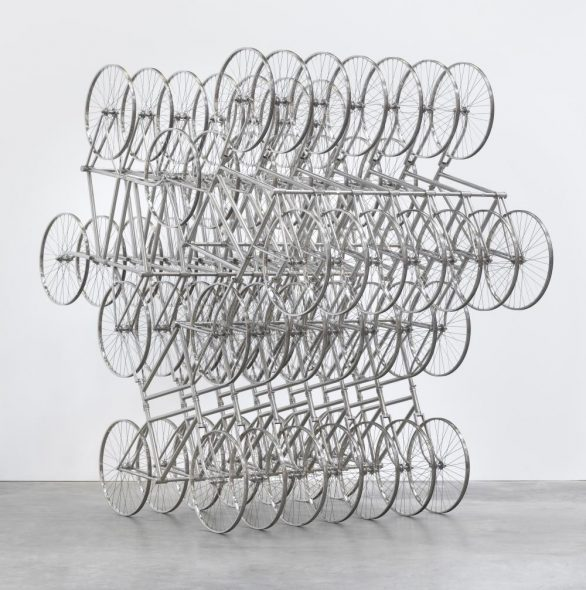 Ai Weiwei, Forever (Stainless Steel Bicycles in Silvery), 3 Pairs 8 Layers (2013). Courtesy of the artist and the Leonardo DiCaprio Foundation