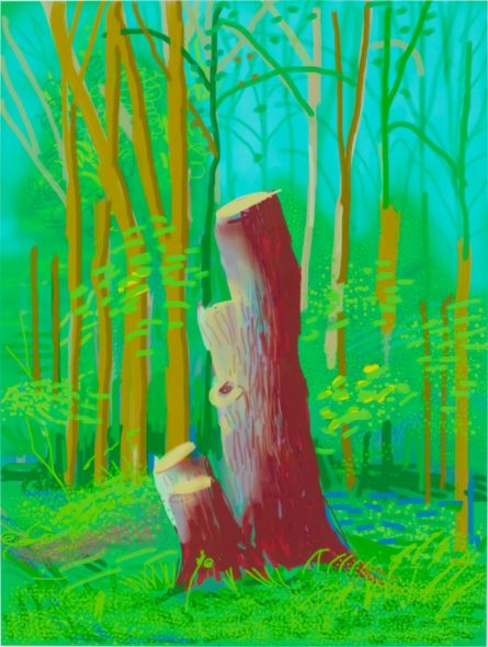 David Hockney, The Arrival of Spring in Woldgate, East Yorkshire in 2011 (2011). Courtesy of the artist and the Leonardo DiCaprio Foundation.