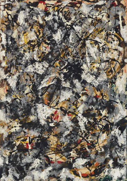 JACKSON POLLOCK (1912-1956) Composition with Red Strokes oil, enamel and aluminum paint on canvas 36 5/8 x 25 5/8 in. Painted in 1950 Estimate in the region of $50 million
