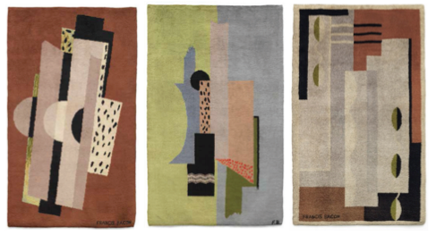 Left: Francis Bacon, Rug (circa 1929, estimate: £70,000-100,000) Centre: Francis Bacon, Rug (circa 1929, estimate: £70,000-100,000) Right: Francis Bacon, Rug (circa 1929, estimate: £70,000-100,000)