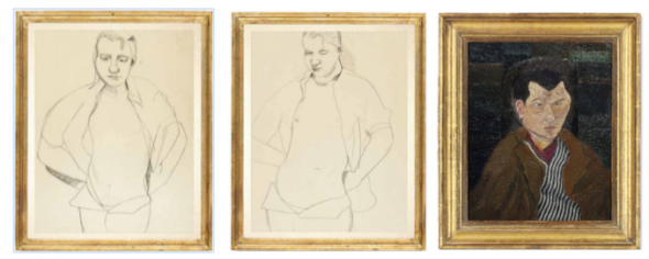 Left - Centre: Lucian Freud, Francis Bacon (1951, estimate: £500,000-700,000) Right: Lucian Freud, Portrait of Richard Chopping (1939, estimate: £1,000,000-1,500,000)