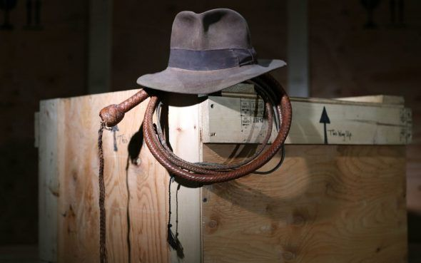 The Fedora (estimate £200-300,000) and Bullwhip (estimate £50-70,000) as used by Harrison Ford in Raiders of the Lost Ark and Indiana Joes and the Temple of Doom respectively CREDIT: ANDREW MATTHEWS/PA