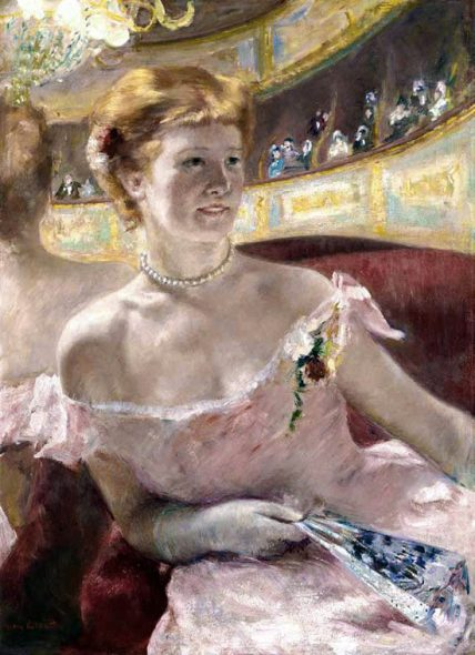 Mary Cassatt. Donna con una collana di perle in un palco. 1879