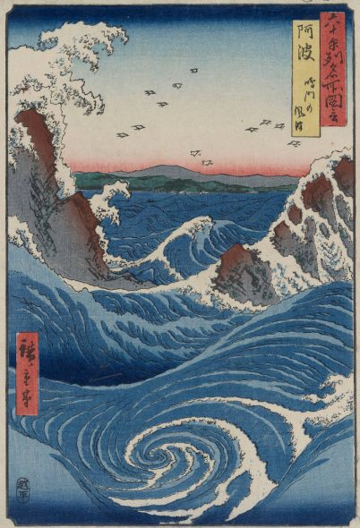 3.Utagawa Hiroshige, I gorghi di Naruto, 1855, 35,5 x 24,7 cm - silografia policroma - Museum of Fine Arts, Boston - William Sturgis Bigelow Collection.