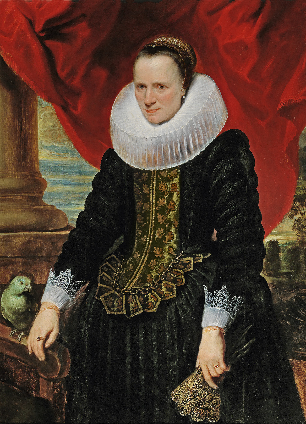 Anthony van Dyck (1599 - 1641) Portrait of a Noblewoman with a parrot, oil on panel, 121 x 88 cm, realised price € 1,425,000