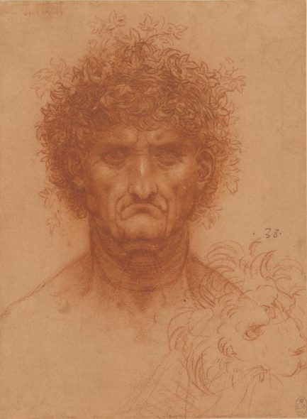 Leonardo da Vinci (1452-1519) Head of a Man, Full Face, and the Head of a Lion, c. 1508-09 Red chalk, heightened with white on paper with a red preparation Royal Collection Trust / © Her Majesty Queen Elizabeth II