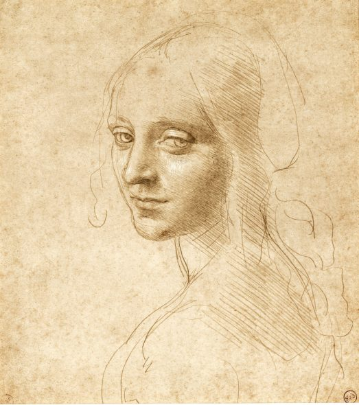 Leonardo da Vinci (1452-1519) A Girl's Head and Shoulders, Three-Quarters to the Left, c. 1490 Metalpoint, heightened with white on paper with a pale ochre yellow preparation, Biblioteca Reale, Turin