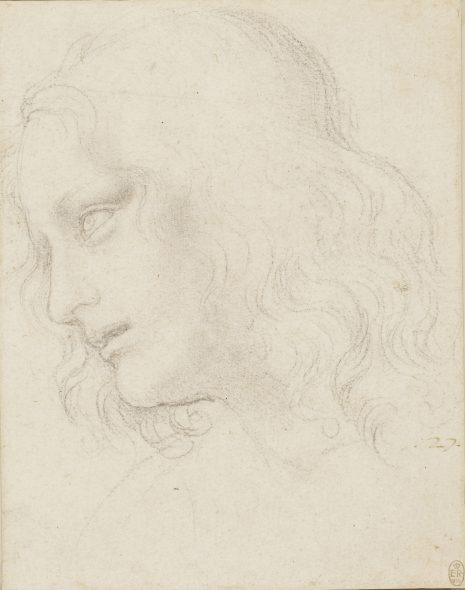 Leonardo da Vinci (1452-1519) Study for the Head of St Philip, c. 1494 Black chalk Royal Collection Trust / © Her Majesty Queen Elizabeth II