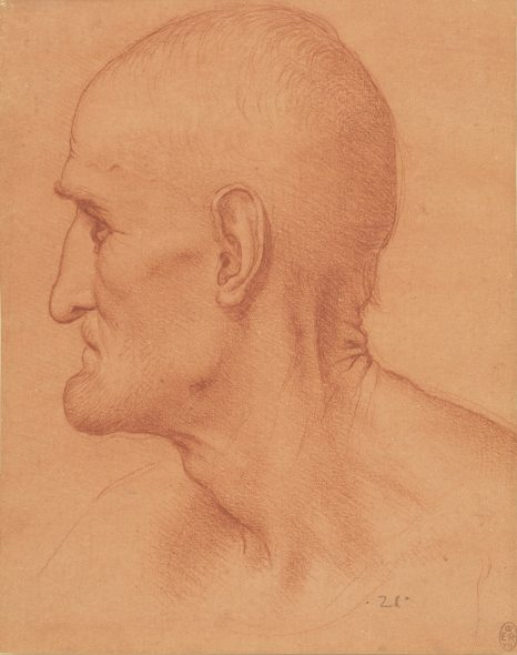 Attributed to Leonardo da Vinci (1452-1519) Study for the Head of St Simon, c. 1494 Red chalk on paper with a red preparation Royal Collection Trust / © Her Majesty Queen Elizabeth II