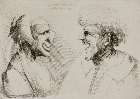 Wenceslaus Hollar (1607-1677) A Deformed Couple Looking at Each Other, 1645 Top centre: 'Leonardo da Vinci inv / W Hollar fecit 1645' Etching Teylers Museum, Haarlem