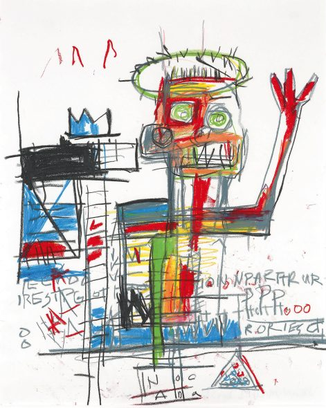 Jean-Michel Basquiat Untitled 1982 Oil stick on paper 51.1 by 41 cm | 20⅛ by 16⅛ in Estimate $1.5/2 Million
