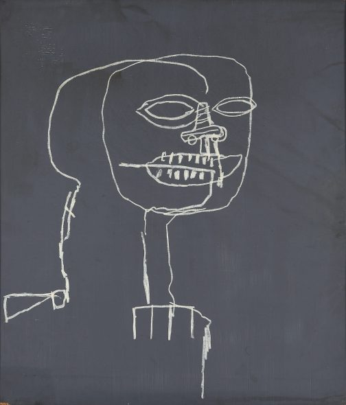 Jean-Michel Basquiat Untitled 1988 Oil stick and acrylic on plywood 106.7 by 91.4 cm | 42⅛ by 36 in Estimate $2/4 Million