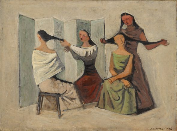 Massimo Campigli. Le Pettinatrici (The Hairdressers). 1936. Estimate $200/300,000