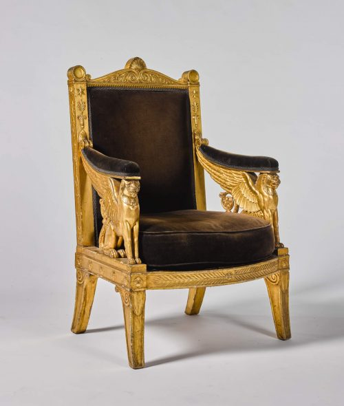 An imperial carved giltwood ceremonial armchair_ 1804, commissioned for Napoleon's Throne Room at the Tuileries_EST. £ 200.000-300.000