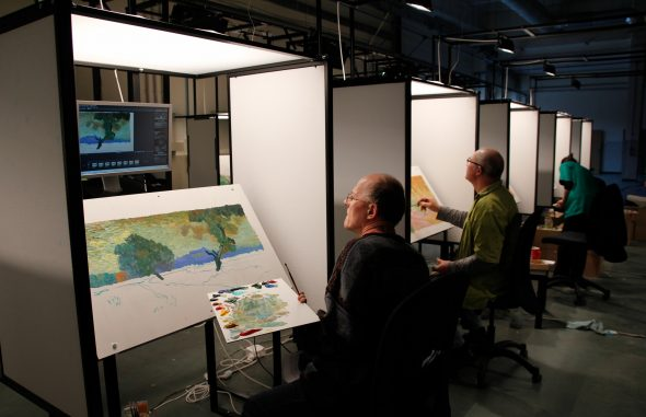 Artisti al lavoro dalle PAWS (Painting Animation Work Station) - Foto © Loving Vincent