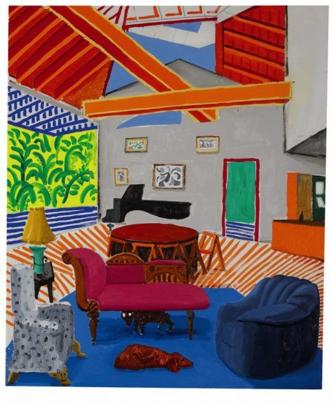 David Hockney. Montcalm Interior with 2 Dogs