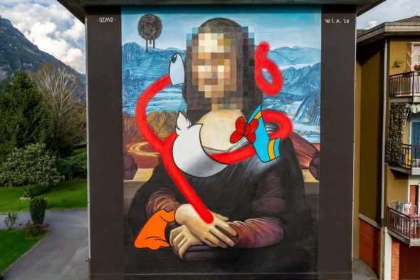 OZMO_'Pixelated Mona Lisa with destructurated Donald Duck in Valle Camonica' _ Angone_ ph Davide Bassanesi 11