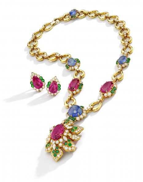 Pink Tourmaline, Sapphire, Emerald and Diamond Suite, Van Cleef & Arpels, France. Estimate $ 60/80,000