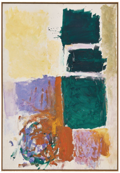 JOAN MITCHELL Perch and Twirl signed 'Joan Mitchell' lower right oil on canvas 258.4 x 179.7 cm (101 3/4 x 70 3/4 in.) Painted in 1973. Estimate £1,500,000 - 2,500,000 ‡ SOLD FOR £3,129,000