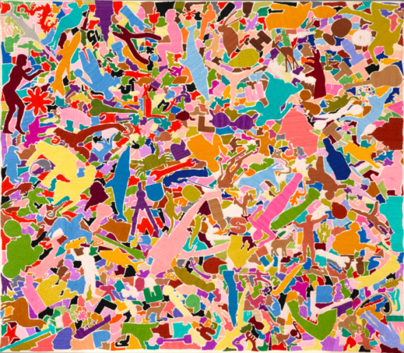 Alighiero Boetti TUTTO SIGNED, INSCRIBED 'PESHAWAR PAKISTAN BY AFGHAN PEOPLE' AND DATED 1987 ON THE OVERLAP, EMBROIDERY ON CANVAS. Estimate 400,000 — 600,000 EUR LOT SOLD.465,000 EUR