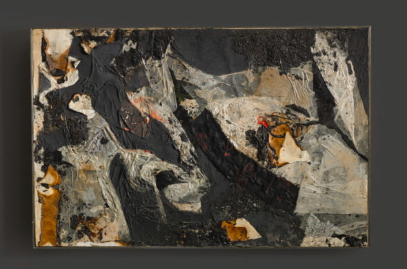Alberto Burri COMBUSTIONE SIGNED, DEDICATED AND DATED ROMA 61 ON THE REVERSE, COMBUSTION, VINAVIL, FABRIC, ACRYLIC AND PAPER AND TISSUE PAPER COLLAGE ON CARDBOARD LAID ON CANVAS. Estimate 200,000 — 300,000 EUR LOT SOLD.369,000 EUR