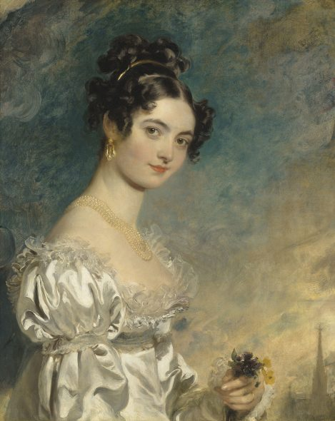 Sir Thomas Lawrence, P.R.A. (Bristol 1769-1830 London) Portrait of Lady Selina Meade (1797–1872), half-length, in an ivory satin dress, with the spire of St. Stephen's Cathedral, Vienna, beyond Estimate GBP 800,000 - GBP 1,200,000 Photo: Christie's