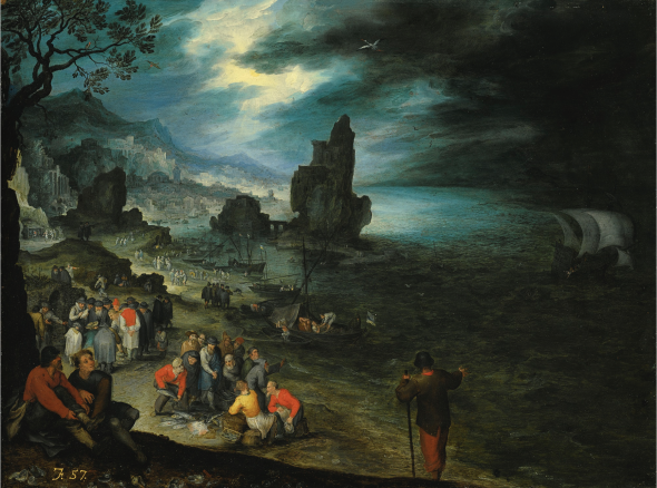 Jan Brueghel the Elder AN EXTENSIVE COASTAL LANDSCAPE WITH FISHERMEN LANDING AND SELLING THEIR CATCH, JONAH BEING CAST OVERBOARD OFFSHORE Estimate 1,800,000 — 2,500,000 £ Photo: Sotheby's