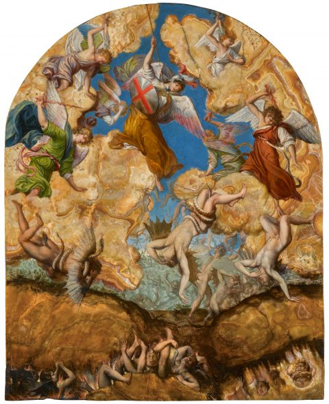 Lot 14 Property of an American Collector Orazio Gentileschi The Fall of the Rebel Angels oil on alabaster, with an arched top 19⅝ by 15⅞ in.; 49.8 by 40.3 cm. Estimate $2.5/3.5 million Sold for $3,255,000