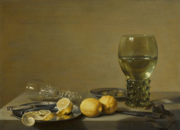 Lot 22 Pieter Claesz. Still Life of Lemons and Olives, Pewter Plates, a Roemer and a Façon-de-Venise wine Glass on a Ledge signed in monogram and dated lower right: PC Ao .1629. oil on oak panel 17 1/2 by 24 in.; 44.5 by 61 cm.; Estimate $700/900,000 Sold for 2,535,000 RECORD FOR THE ARTIST AT AUCTION