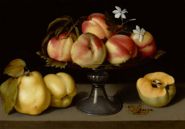Lot 42 Property of a West Coast Collector Fede Galizia A Glass Compote with Peaches, Jasmine Flowers, Quinces, and a Grasshopper Oil on panel 12 by 17 in.; 30.5 by 43.2 cm. Estimate $2/3 million Sold for $2,415,000 RECORD FOR THE ARTIST AT AUCTION