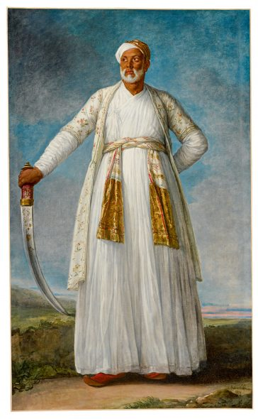 Lot 48 Elisabeth-Louise Vigée Le Brun Portrait of Muhammad Dervish Khan, Full-Length, Holding His Sword in a Landscape Signed and dated lower right: L. Vigée Le Brun / 1788 Oil on canvas 88 3/4 by 55 1/2 in.; 225.5 by 136 cm. Estimate $4/6 million Sold for $7,185,900 RECORD FOR THE ARTIST AT AUCTION RECORD FOR A FEMALE ARTIST OF THE PRE-MODERN ERA