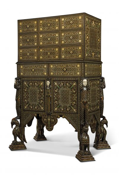 LOT 25 A HIGHLY IMPORTANT AND ROYAL INDO-PORTUGUESE IVORY-INLAID INDIAN-ROSEWOOD, PADOUK AND HARDWOOD CABINET-ON-STAND (CONTADOR) LATE 17TH CENTURY, GOA Estimate GBP 70,000 - GBP 100,000