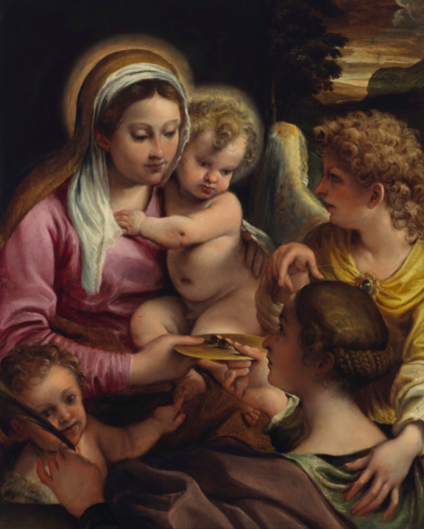 Annibale Carracci (1560-1609) Virgin and Child with Saint Lucy and the Young Saint John the Baptist. (78.5 x 63 cm). Christie's New York