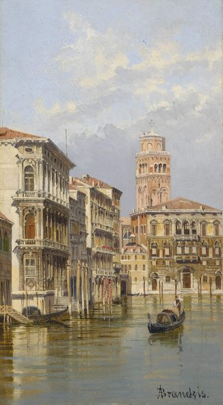 Antonietta Brandeis - Venice, a view of the Grand Canal, coming from Piazza San Marco towards Palazzo Balbi - EST. $8000-12.000