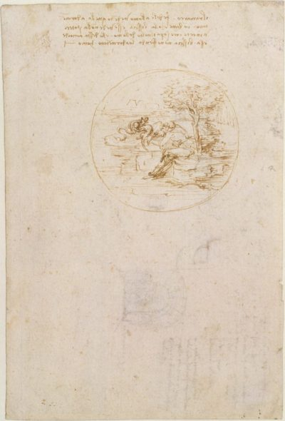 Leonardo da Vinci, Sketch and Notes for an Allegory on the Fidelity of the Lizard (recto) (1496). Courtesy of the Metropolitan Museum of Art.