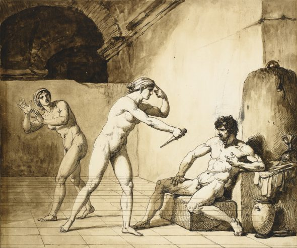 François-André Vincent PARIS 1746 - 1816 ARRIA AND PAETUS Pen and brown and black ink and brown wash over black and red chalk 415 by 505 mm