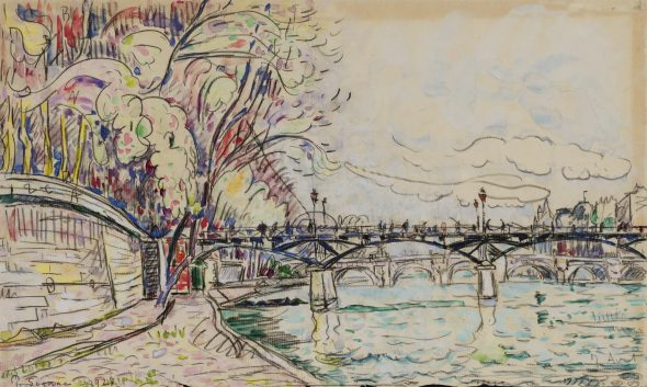 Paul Signac 1863 - 1935 PONT DES ARTS Signed P Signac and dated 1928 (lower left); dated 7 avril (lower left) Watercolor and black chalk on paper 10 3/4 by 18 in. 27.3 by 45.7 cm Executed on April 7, 1928.