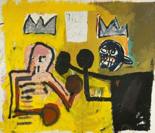 Jean-Michel Basquiat, World Crown, opera della stessa serie di Clay Liston, scomparsa a La Spezia