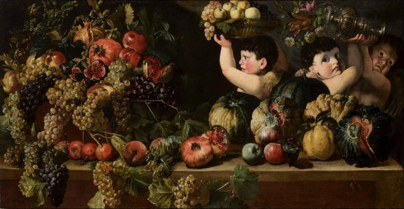 STILL LIFE OF FRUIT WITH THREE FIGURES OF CHILDREN BARTOLOMEO CAVAROZZI (Viterbo, 1587 - Rome, 1625) Oil on canvas 73.5 × 144 cm (28.9 x 56.7 in.) PROVENANCE Private collection, Italy