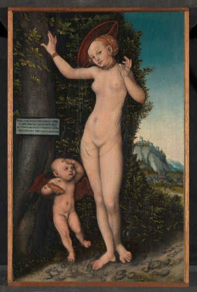 Lucas Cranach the Elder (1472–1553) Venus and Cupid, 1529 Oil on wood 38.1 × 23.5 cm The National Gallery, London. A gift from the Drue Heinz Charitable Trust, 2018 © Photo: The National Gallery, London.