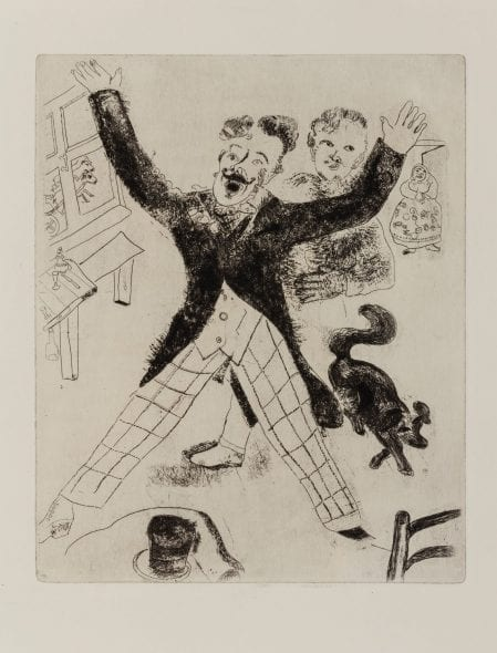 Chagall,Marc / Gogol, Nikolaj Les ames mortes.Traduction de Henri Mongault.Eaux-fortes originales de Marc Chagall. Paris,Tériade Editeurs,1948. Due volumi In-Folio. (280 x 380 mm.).(IV)+160+(4) pp. / (VIII)+165-308+(12) pp. 118 acqueforti originali di cui 96 fuori testo,11 testatine ed iniziali e 11 incisioni al prospetto delle tavole. Fogli sciolti conservati entro brossure editoriali
