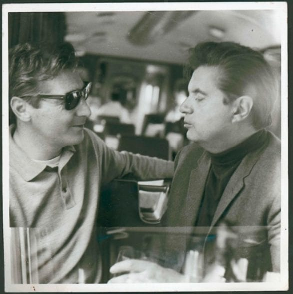 Black and white photograph of Francis Bacon and George Dyer on the Orient Express, 1965 Photos: John Deakin Collection: Dublin City Gallery The Hugh Lane © The Estate of Francis Bacon. All rights reserved. DACS 2014