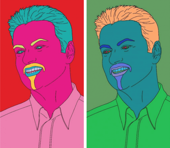 Michael Craig Martin, Commissioned Self Portrait (George) sold online for £175,000 / $240,975 / 212,625, a new record for the artist
